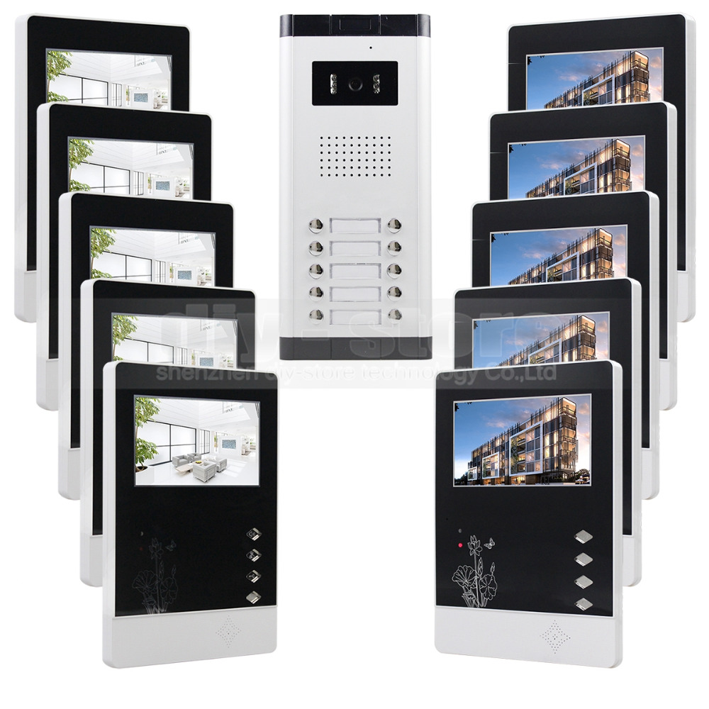 DIYSECUR 10 x 4.3 inch Monitor 4-Wired Apartment Video Door Phone Audio Visual Intercom Entry System IR Camera for 10 FamiliesDIYSECUR 10 x 4.3 inch Monitor 4-Wired Apartment Video Door Phone Audio Visual Intercom Entry System IR Camera for 10 Families