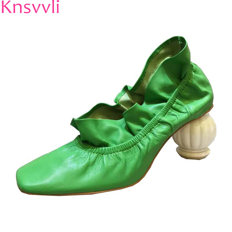 Flounce Pleated Round Heel Woman Shoes New Style Genuine leather Square Toe Women Pumps Strange Style