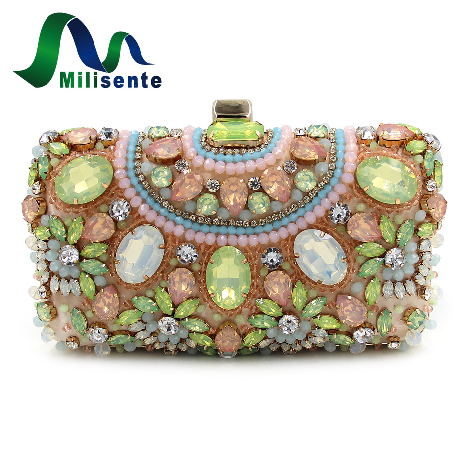 milisente designer party clutch purse beaded clutches green handbags small luxury bags women. Black Bedroom Furniture Sets. Home Design Ideas