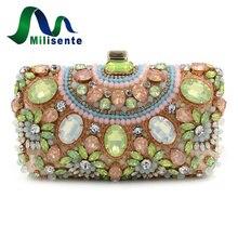 Milisente Designer Geldbörse Perlen Kupplungen Grün Handtaschen Kleine Luxus Taschen Frauen Bankett Abendtasche Mit Kette