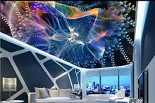 custom 3d ceiling photo Abstract dynamic four-ray light 3d ceiling murals wallpaper home decor wallpaper on the ceiling(China)