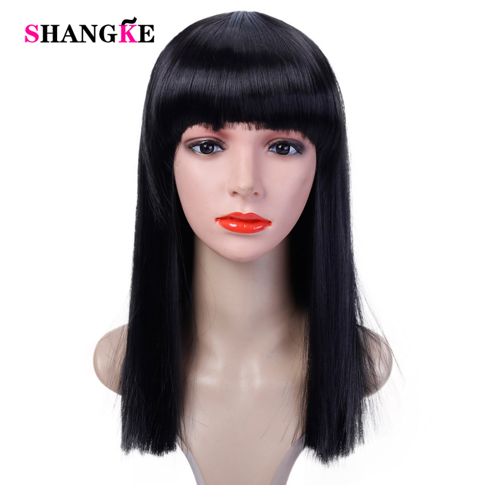 40CM Halloween Hair Long Straight  Wig Womans Heat Resistant Synthetic Female Cosplay Wigs For White Women Fake Hair SHANGKE