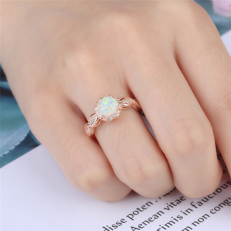 BOAKO Elegant Rainbow Opal Ring Fashion White CZ Wedding Jewelry Rose Gold Filled Engagement Promise Rings for Women anillos