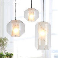 French Designer Imitation Marble Glass Pendant Lights Modern Bedroom Restaurant Bar Style Dinner Decoration Single Head