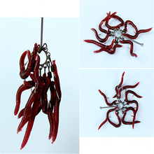 50pcs/lot Soft Lure Fishing Simulation Earthworm red Worms Artificial Fishing Lure Tackle Lifelike Fishy Smell Lures WD-160