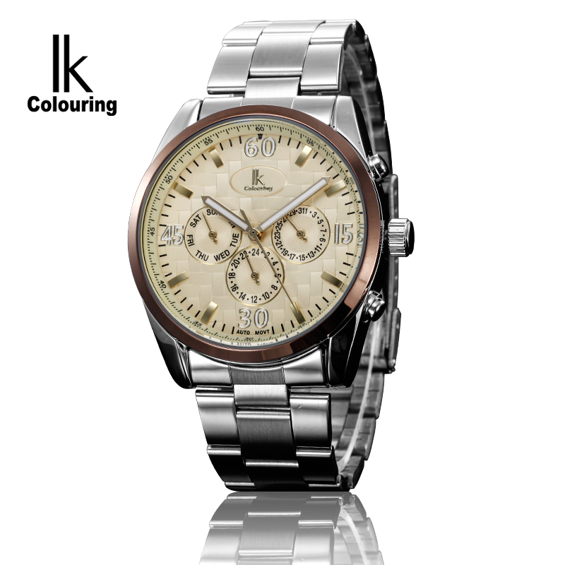 ФОТО 2017 IK Top Brand Man Watches Automatic Men's Day/Week/24Hours Mechanical Wristwatch with Box Free Ship