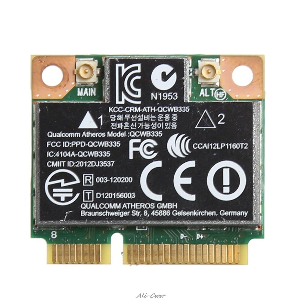 WiFi Bluetooth 4.0 Wireless Half Mini PCI-E Card For HP Atheros QCWB335 AR9565 SPS 690019-001 733476-001 802.11b/g/n