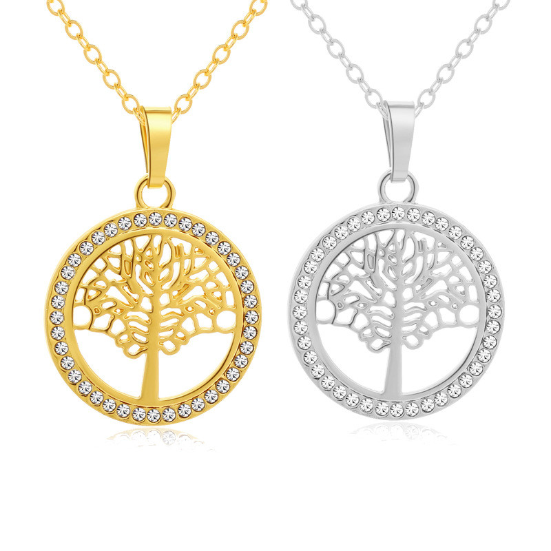 1 pcs Tree of Life Crystal Round Small Pendant Necklace Gold Silver Colors Bijoux Collier Elegant Women Jewelry Gifts
