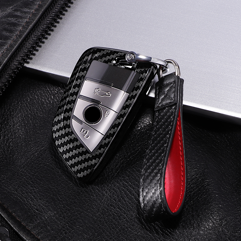 Scratchproof Carbon Fiber+PC Car Key Cover Case For BMW X5 F15 X6 F16 G30 7 Series G11 X1 F48 Auto Key Shell Protection Keychain
