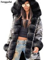 Пальто с мехом в европейском и американском стиле, Длинная с капюшоном, камуфляжное пальто, осенне-зимняя Модная стильная новая короткая ку...