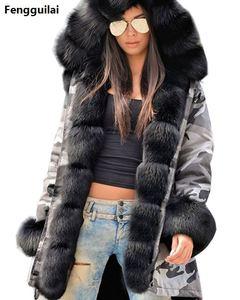 Image 1 - Bontjas Europese Amerikaanse Lange Hoed Camouflage Jas Herfst Winter Mode Stijl Nieuwe Temperament Jacket Slim Warm vrouwen Jas