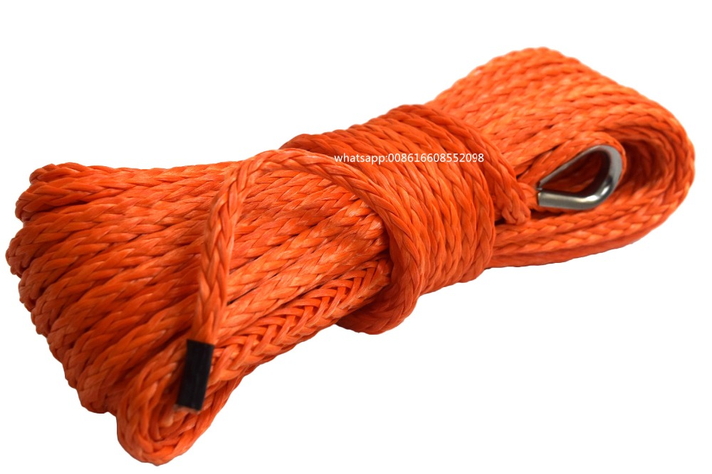 Orange 6mm*15m ATV Winch Line,1/4 Synthetic Rope for Offroad,Boat Cable