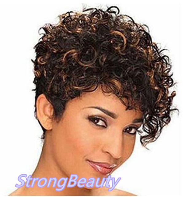 Asymmetrical Side Bang Short Curly Wig Fashion Brown