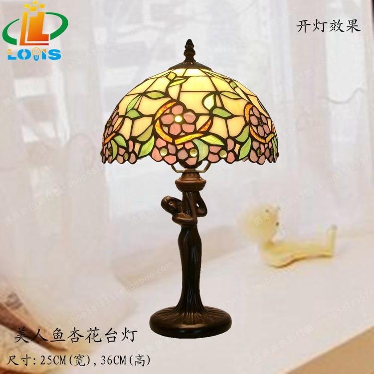 Sirène de chevet lampe de table abricot Tiffany lampe de bureau éclairage continental Creative Arts