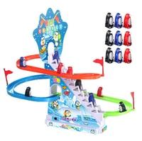 ホット有名な電気ペット9ピースかわいい小さなペンギン登る階段トラックでライト音楽面白い子供のおもちゃ