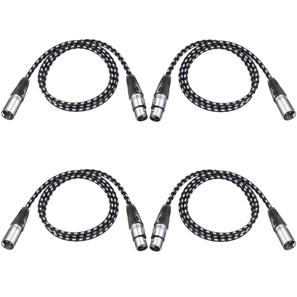 Neewer 4 Packs XLR DMX Cables 3 Pins Male to Female 39.4