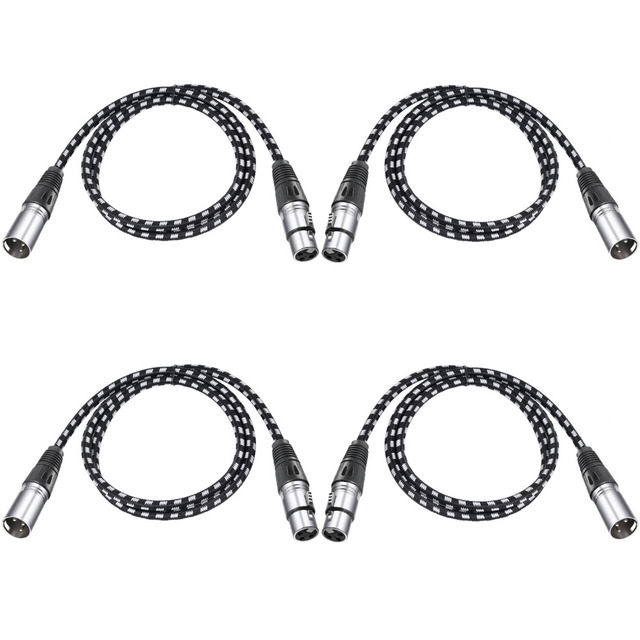 Neewer 4 Packs XLR DMX Cables 3 Pins Male to Female 39.4 inches/100 centimeters