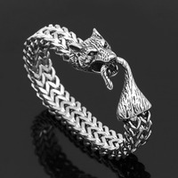 Viking Wolf Bracelet Viking Wolf Head Wolftail Titanium Steel Bracelet Men's Domineering Jewelry Gift Bag