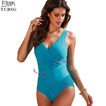TCBSG 2017 New Arrival One Piece Swimsuit Women Vintage Bathing Suits Plus Size Swimwear Beach Padded Print Polka Dot Swim Wear