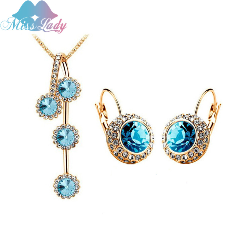 Miss Lady Gold color Crystal design Round Moon river Crystal Jewelry Sets Wholesales Fashion Jewelry for women MLM1154