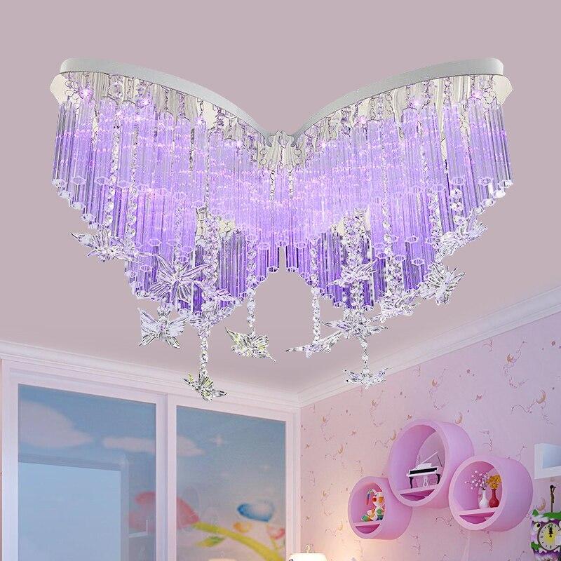 US $283.1 5% OFF|Kinder lampe Schmetterling LED Kristall deckenleuchten  schlafzimmer lampe mädchen deckenleuchte farbe deckenleuchten ZL178-in ...