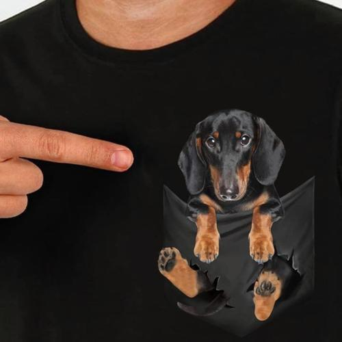 Dachshund Inside Pocket T Shirt Mens and Ladies Fit