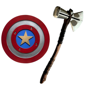 1:1 Thor Axe Hammer Captain America Shield Cosplay Weapons Movie Role Playing Thor Thunder Hammer Axe Stormbreaker Figure Mod image