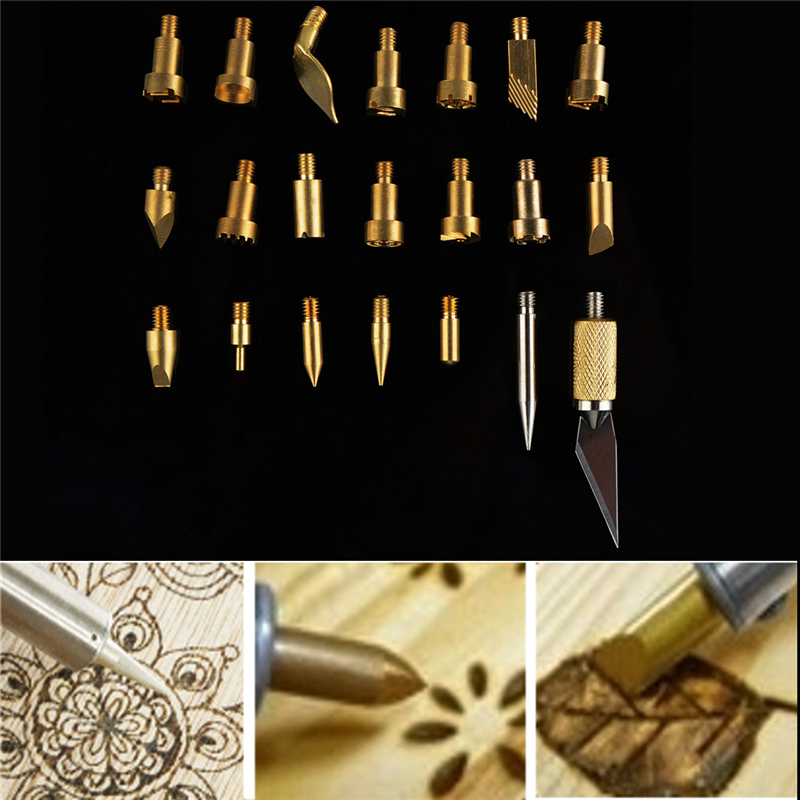 22Pcs Wood Burning Pen Tips Stencil Soldering Iron Pyrography Working Carving Welding Ir ...