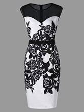 588a5c5e9c Wipalo kobiety lato formalne Bodycon sukienka Plus rozmiar 5XL kwiat drukuj  Mesh Panel płaszcza bez rękawów kolano długość sukie.