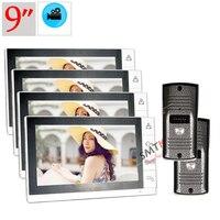 4 Крытый монитор + 2 открытых камеры 9 дюймов видео домофон Интерком система записи монитор