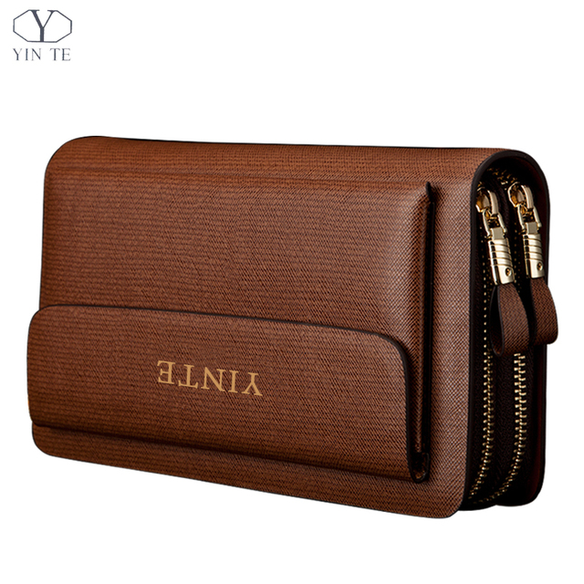 YINTE 2016 Fashion Men's Clutch Wallets Leather Men Purse High Quality Zipper Bags Business Handy Bags Passport Purse T018-2