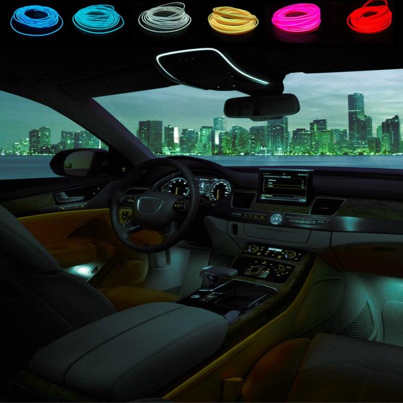 3M Orange-Red Interior Trim Panel Decor Atmosphere Cold Strip EL Light For Audi