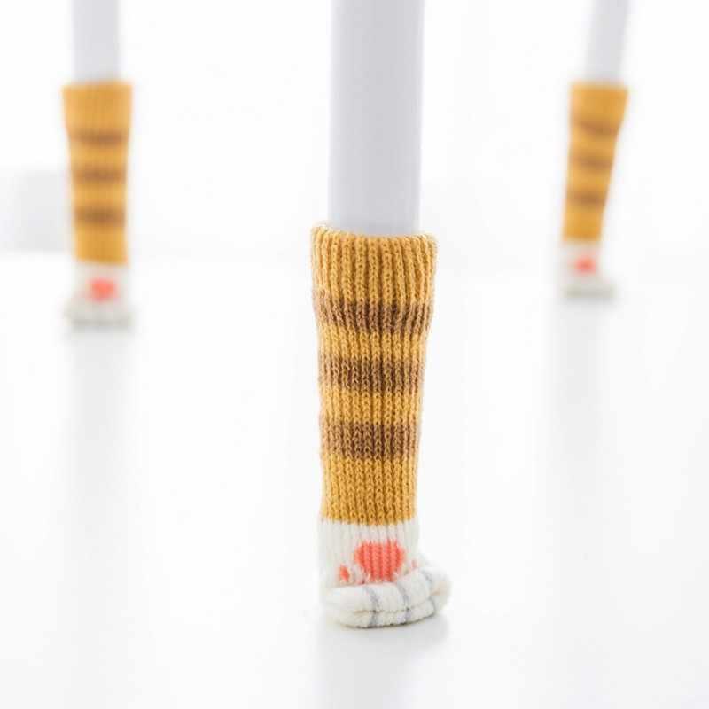 4 шт. вязаные теплые носки для ног на стуле с котом домашняя мебель защита для ног Нескользящие ножки для стола Защита от царапин кошек