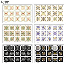 OOTDTY 15PCS Multicolor Waterproof Tile Sticker Bathroom Floor Home Decoration Wallpaper
