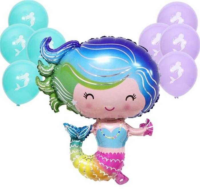 Cartoon Hat Mermaid Theme Foil Balloons Happy Birthday Wedding Decorations Balloons Baby Shower Market Activity Party Supplies