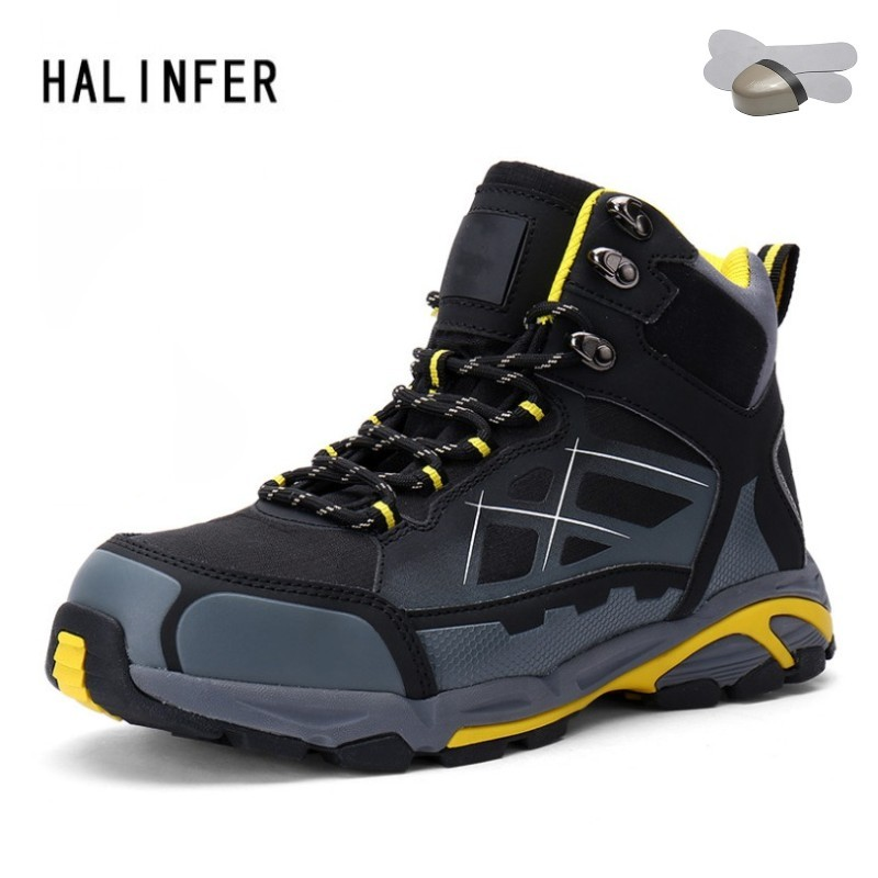 HALINFER Men's Anti-static Non-slip Ankle Boots outdoor steel toe cap work&safety boots shoes men puncture proof boots tigergrip rubber non slip safety shoe boot cap visitor overshoe anti smashing steel toe cap boot men and women work shoes cover