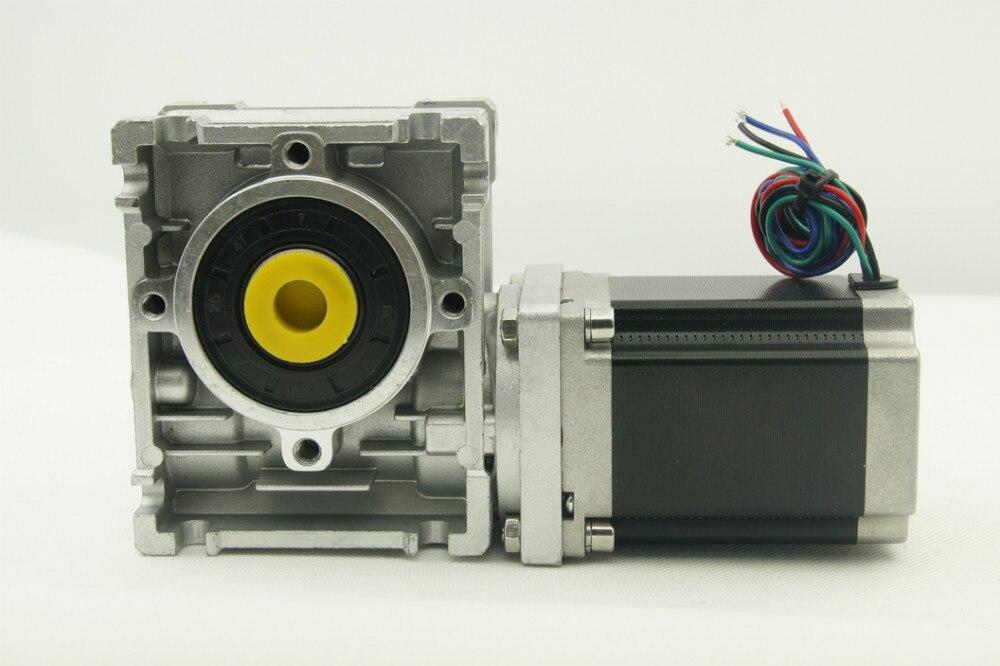 Worm engrenado Nema23 motor de passo 5:1/7.5: 1/10: 1/15: 1/20: 1/25: 1/30: 1/40: 1/50: 1/60: 1/80: 1 Proporção comprimento 76mm e eixo de saída do motor