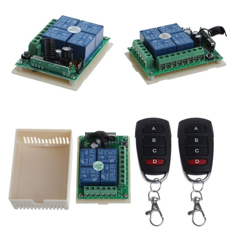 12 V 4CH canal relé inalámbrico RF Control remoto interruptor 2 transmisor + receptor
