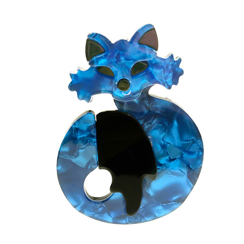 Cute Acrylic Fox Brooches Handmade Fashion Animal Blue Cat Brooches Pins For Clothing Accessories Women's Jewelry Gifts