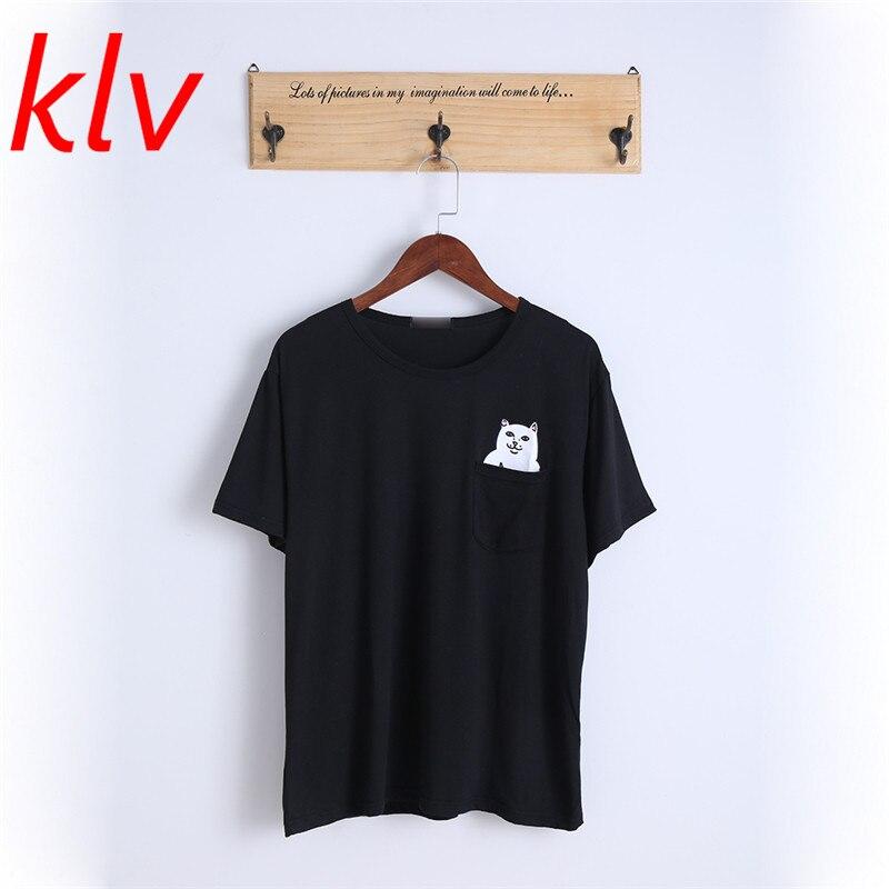 KLV 2018 Для женщин Летний стиль футболка Принт средний палец карман кошка HARAJUKU о-образным вырезом Изделие из хлопка с короткими рукавами Пара Tee
