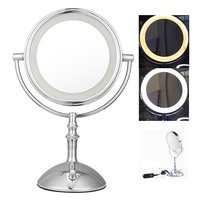 Professional LED Light Makeup Mirror with Lights Brightness Adjustable 8 Inch Cosmetic Mirror Double Sided 1/3x Magnifying Bath