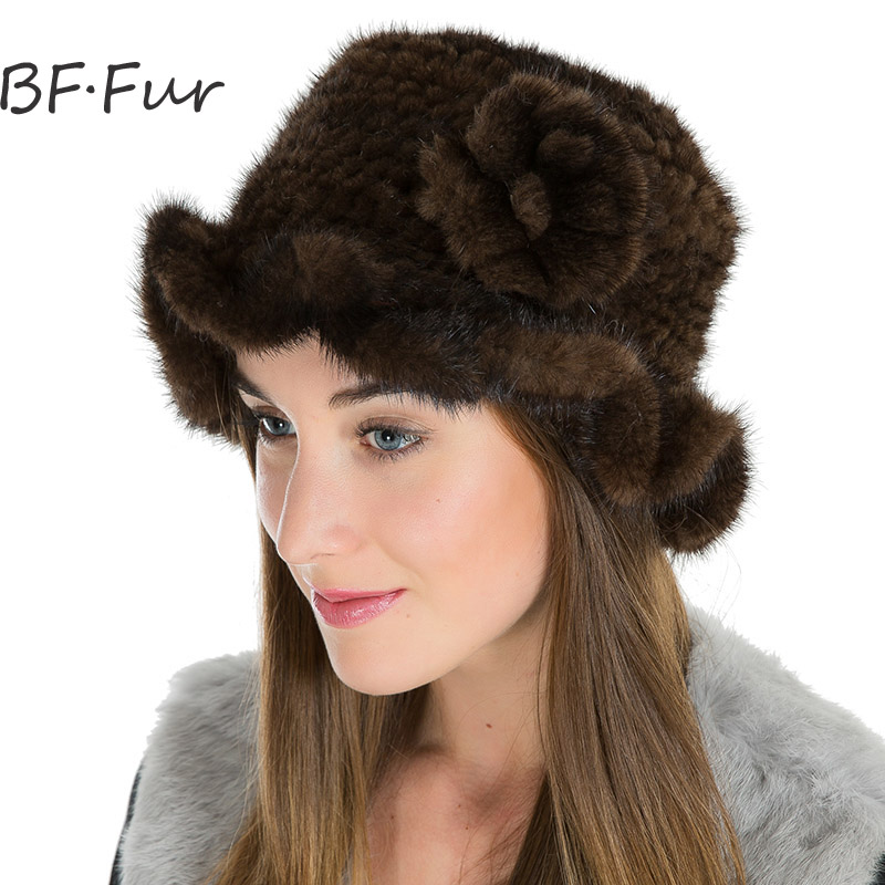 Russian Women Winter Warm Fur Hats For Female Real Mink Fur Beanies Casual Natural Color Cap Girls Knitted Cotton Black Bonnet russian real mink fur hat for female animal fur winter warm beanies fashion solid color cap natural color bonnet girls hats