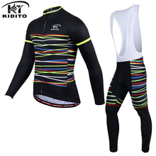 Kiditokt 2017 тепловая руно велосипед износ велосипед одежды костюм зима майо ciclismo зима с длинным рукавом велоспорт джерси установить