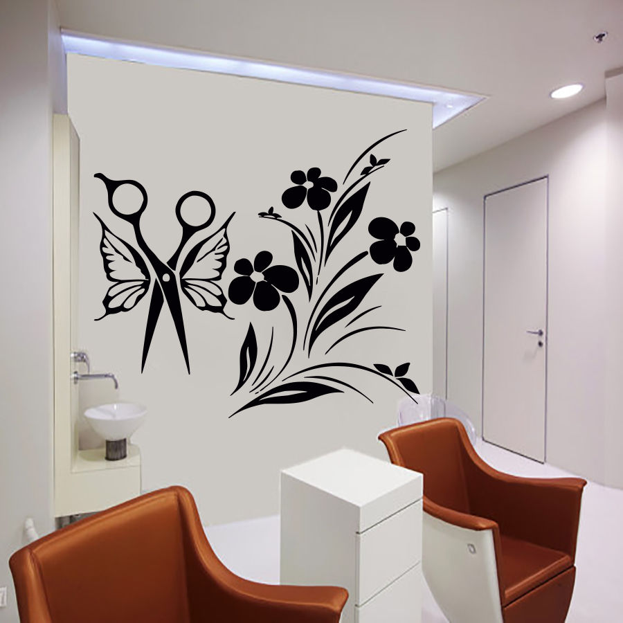 Hair wall decals salon decal vinyl sticker bedroom room for Stickers salon design