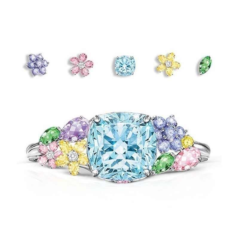 ייחודי סגנון נקבה קריסטל עגול פרח טבעת יוקרה אופנה כסף כחול צהוב חתונת טבעות אירוסין הבטחת טבעות לנשים