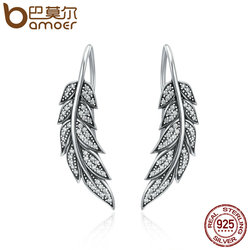 BAMOER 925 Sterling Silver Vintage Feather Wings Long Drop Earrings for Women Sterling Silver Jewelry Brincos BLACK FRIDAY