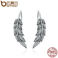 BAMOER Authentic 925 Sterling Silver Vintage Feather Wings Long Drop Earrings For Women Sterling Silver Jewelry