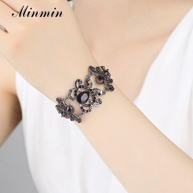 Minmin Viola di Cristallo Set di Gioielli Da Sposa Grande Teardrop Orecchini Bracciali Set Wedding Jewelry Set per Le Donne EH168 + SL029