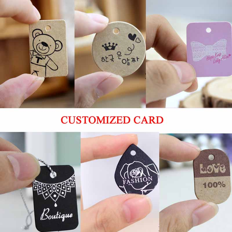 Custom Logo Jewelry Tag Blank Kraft Pendant Necklace Card Kraft Packaging Labels Cost Extra