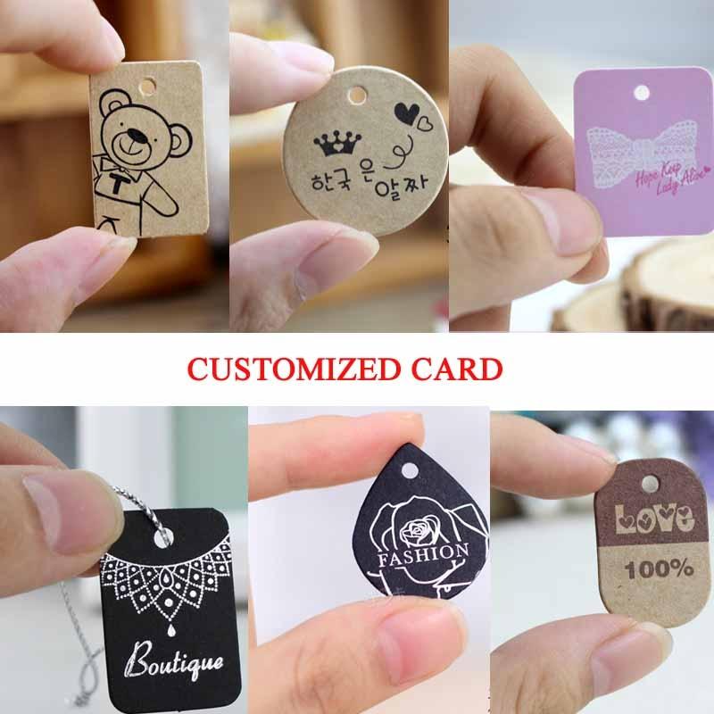 Custom Logo Jewelry Tag Blank Kraft Pendant Necklace Card Kraft Packaging Labels Jewelry Display Card